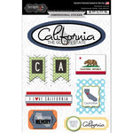 Scrapbook Customs - Travel Photo Journaling Collection - 3 Dimensional Stickers - California