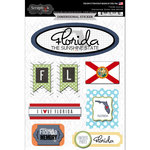 Scrapbook Customs - Travel Photo Journaling Collection - 3 Dimensional Stickers - Florida