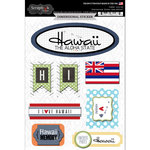 Scrapbook Customs - Travel Photo Journaling Collection - 3 Dimensional Stickers - Hawaii