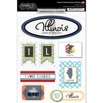 Scrapbook Customs - Travel Photo Journaling Collection - 3 Dimensional Stickers - Illinois