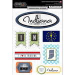 Scrapbook Customs - Travel Photo Journaling Collection - 3 Dimensional Stickers - Indiana