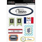 Scrapbook Customs - Travel Photo Journaling Collection - 3 Dimensional Stickers - Iowa