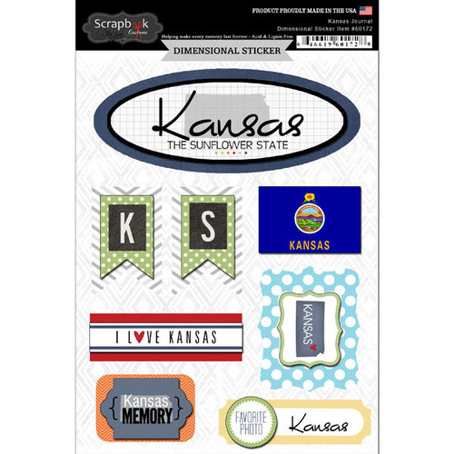 Scrapbook Customs - Travel Photo Journaling Collection - 3 Dimensional Stickers - Kansas