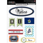 Scrapbook Customs - Travel Photo Journaling Collection - 3 Dimensional Stickers - Maine