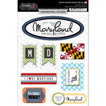Scrapbook Customs - Travel Photo Journaling Collection - 3 Dimensional Stickers - Maryland