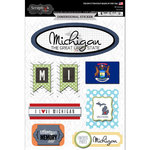 Scrapbook Customs - Travel Photo Journaling Collection - 3 Dimensional Stickers - Michigan