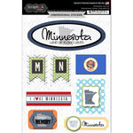 Scrapbook Customs - Travel Photo Journaling Collection - 3 Dimensional Stickers - Minnesota