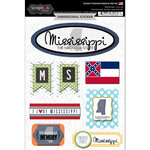 Scrapbook Customs - Travel Photo Journaling Collection - 3 Dimensional Stickers - Mississippi