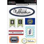Scrapbook Customs - Travel Photo Journaling Collection - 3 Dimensional Stickers - Nebraska