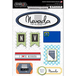 Scrapbook Customs - Travel Photo Journaling Collection - 3 Dimensional Stickers - Nevada