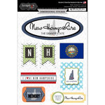 Scrapbook Customs - Travel Photo Journaling Collection - 3 Dimensional Stickers - New Hampshire