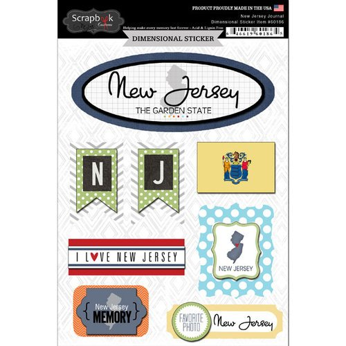 Scrapbook Customs - Travel Photo Journaling Collection - 3 Dimensional Stickers - New Jersey