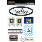 Scrapbook Customs - Travel Photo Journaling Collection - 3 Dimensional Stickers - New York