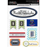 Scrapbook Customs - Travel Photo Journaling Collection - 3 Dimensional Stickers - North Dakota