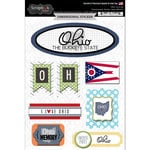 Scrapbook Customs - Travel Photo Journaling Collection - 3 Dimensional Stickers - Ohio