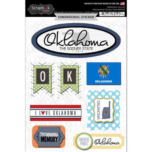 Scrapbook Customs - Travel Photo Journaling Collection - 3 Dimensional Stickers - Oklahoma