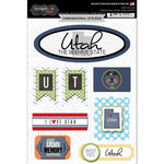 Scrapbook Customs - Travel Photo Journaling Collection - 3 Dimensional Stickers - Utah
