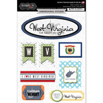 Scrapbook Customs - Travel Photo Journaling Collection - 3 Dimensional Stickers - West Virginia
