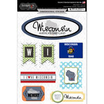 Scrapbook Customs - Travel Photo Journaling Collection - 3 Dimensional Stickers - Wisconsin
