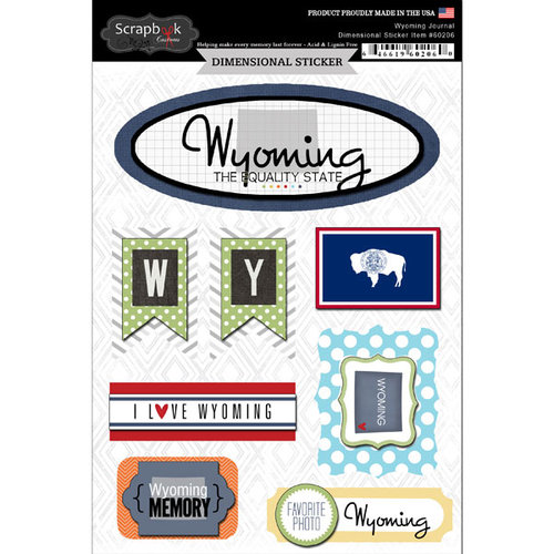 Scrapbook Customs - Travel Photo Journaling Collection - 3 Dimensional Stickers - Wyoming