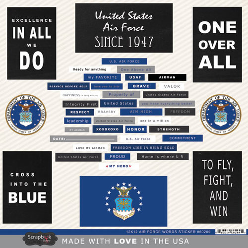 Scrapbook Customs - United States Military Collection - 12 x 12 Cardstock Stickers - Air Force Words
