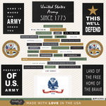 Scrapbook Customs - United States Military Collection - 12 x 12 Cardstock Stickers - Army Words