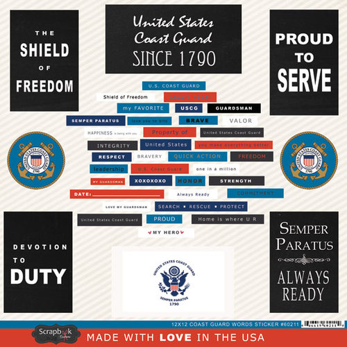 Scrapbook Customs - United States Military Collection - 12 x 12 Cardstock Stickers - Coast Guard Words