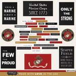 Scrapbook Customs - United States Military Collection - 12 x 12 Cardstock Stickers - Marines Words