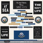 Scrapbook Customs - United States Military Collection - 12 x 12 Cardstock Stickers - Navy Words