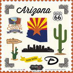 Scrapbook Customs - State Sightseeing Collection - 12 x 12 Cardstock Stickers - Arizona
