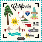 Scrapbook Customs - State Sightseeing Collection - 12 x 12 Cardstock Stickers - California