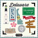 Scrapbook Customs - State Sightseeing Collection - 12 x 12 Cardstock Stickers - Delaware