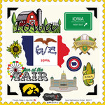 Scrapbook Customs - State Sightseeing Collection - 12 x 12 Cardstock Stickers - Iowa
