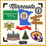 Scrapbook Customs - State Sightseeing Collection - 12 x 12 Cardstock Stickers - Minnesota