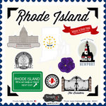 Scrapbook Customs - State Sightseeing Collection - 12 x 12 Cardstock Stickers - Rhode Island