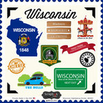 Scrapbook Customs - State Sightseeing Collection - 12 x 12 Cardstock Stickers - Wisconsin