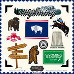 Scrapbook Customs - State Sightseeing Collection - 12 x 12 Cardstock Stickers - Wyoming