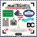 Scrapbook Customs - State Sightseeing Collection - 12 x 12 Cardstock Stickers - Washington DC
