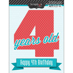 Scrapbook Customs - Happy Birthday Collection - 3 Dimensional Stickers - 4th Birthday