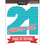 Scrapbook Customs - Happy Birthday Collection - 3 Dimensional Stickers - 21st Birthday