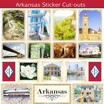 Scrapbook Customs - State Sightseeing Collection - 12 x 12 Sticker Cut Outs - Arkansas