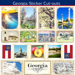Scrapbook Customs - State Sightseeing Collection - 12 x 12 Sticker Cut Outs - Georgia