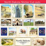 Scrapbook Customs - State Sightseeing Collection - 12 x 12 Sticker Cut Outs - North Dakota