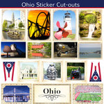 Scrapbook Customs - State Sightseeing Collection - 12 x 12 Sticker Cut Outs - Ohio