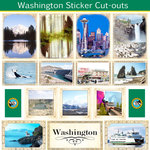 Scrapbook Customs - State Sightseeing Collection - 12 x 12 Sticker Cut Outs - Washington