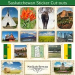 Scrapbook Customs - Canadian Provinces Sightseeing Collection - 12 x 12 Sticker Cut Outs - Saskatchewan