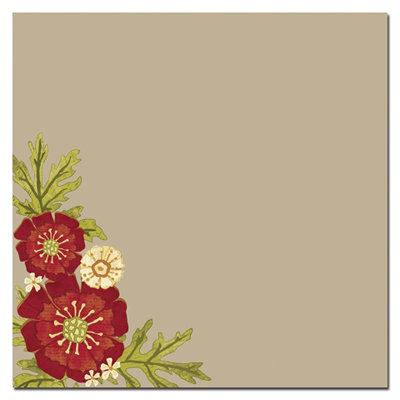Scenic Route Paper - Sonoma Collection - 12 x 12 Kraft Paper - Red Bouquet, CLEARANCE