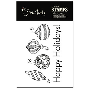 Scenic Route Paper - Garland Collection - Clear Acrylic Stamps - Happy Holidays