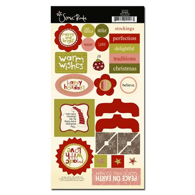 Scenic Route Paper - Garland Collection - Christmas - Chipboard - Warm Wishes, CLEARANCE