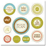 Scenic Route Paper - Chipboard Circles - Because I Can, CLEARANCE